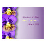 """Pretty Pansies Save The Date Cards 4.25"""" X 5.5"""" Invitation Card"""