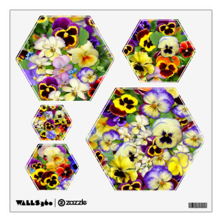 Pretty Pansies ~ Wall Decals (Hexagon)