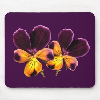 Pretty Pansies Yellow Purple Flowers Mousepad