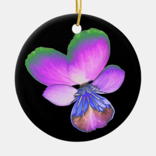 Pretty Pansy Custom Birthday Ceramic Ornament
