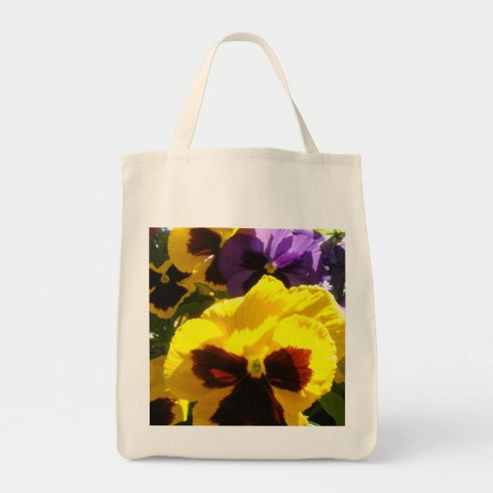 Pretty Pansy Grocery Tote