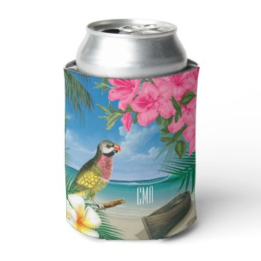 Beach Themed Pretty Parakeet on a Tropical Ocean Design Can Cooler