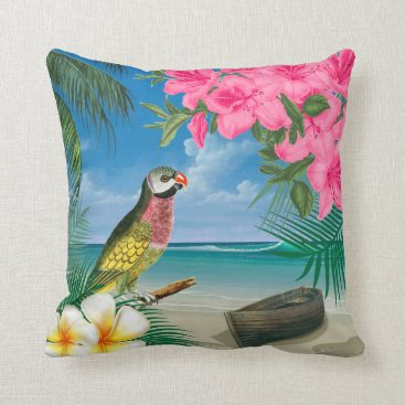 Beach Themed Pretty Parakeet on a Tropical Ocean Design Throw Pillow