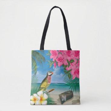 Beach Themed Pretty Parakeet on a Tropical Ocean Design Tote Bag
