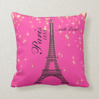 Pretty Paris with Love in Pink Throw Pillow