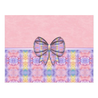 Pretty Pastel Abstract with Bow Postcard