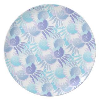 Pretty Pastel Aqua and Purple Art Deco Elegant Dinner Plate