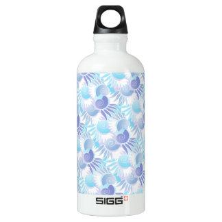 Pretty Pastel Aqua and Purple Art Deco Elegant Water Bottle
