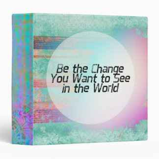 Pretty Pastel Be the Change Inspirational Quote Binder