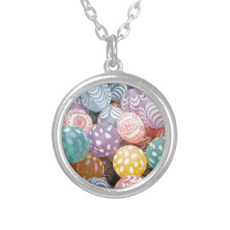 Pretty Pastel Bead Print - Pink Yellow Turquoise Round Pendant Necklace