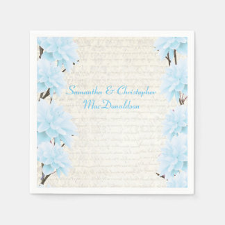 Pretty pastel blue floral country wedding standard cocktail napkin