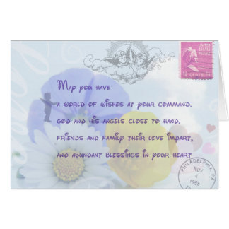 Pretty Pastel Blue Floral Irish Blessing Cards