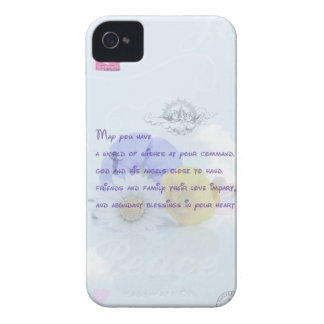 Pretty Pastel Blue Floral Irish Blessing Case-Mate iPhone 4 Case