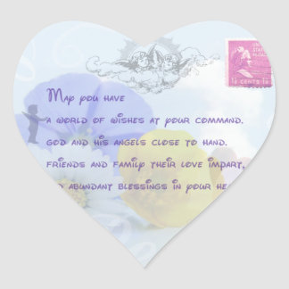 Pretty Pastel Blue Floral Irish Blessing Heart Sticker