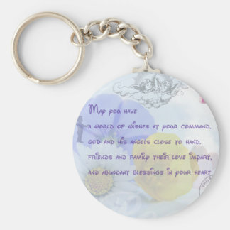 Pretty Pastel Blue Floral Irish Blessing Keychains