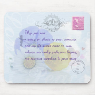 Pretty Pastel Blue Floral Irish Blessing Mouse Pad