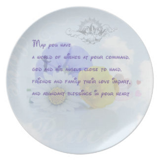 Pretty Pastel Blue Floral Irish Blessing Plate
