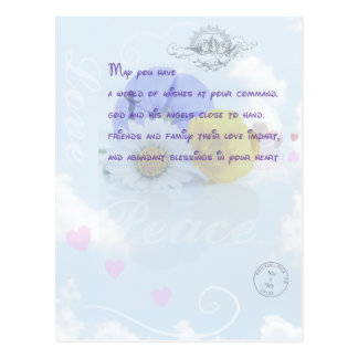 Pretty Pastel Blue Floral Irish Blessing Postcard