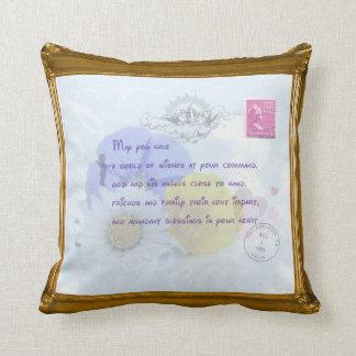 Pretty Pastel Blue Floral Irish Blessing Throw Pillow