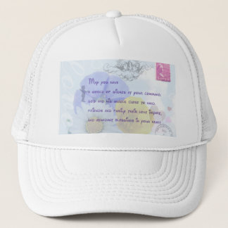 Pretty Pastel Blue Floral Irish Blessing Trucker Hat
