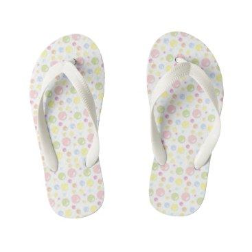 Beach Themed Pretty Pastel Bubbles Kid's Flip Flops