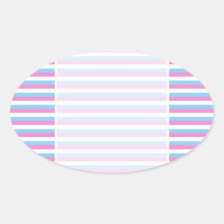 Pretty pastel candy Stripes. Oval Sticker