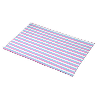 Pretty pastel candy Stripes. Cloth Placemat