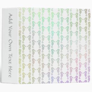 Pretty Pastel Color Seahorse Pattern Binder
