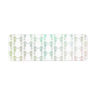 Pretty Pastel Color Seahorse Pattern Label