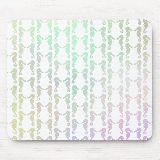 Pretty Pastel Color Seahorse Pattern Mouse Pads