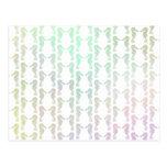 Pretty Pastel Color Seahorse Pattern Postcard