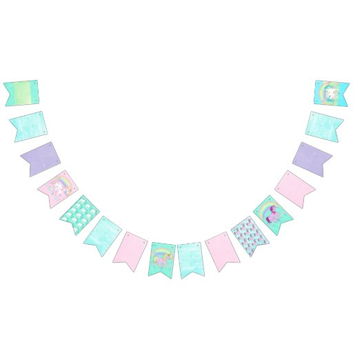 Pretty Pastel Colored Unicorn Birthday Flag Banner