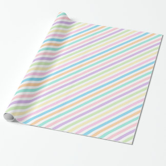 Pretty Pastel Diagonal Stripes Wrapping Paper