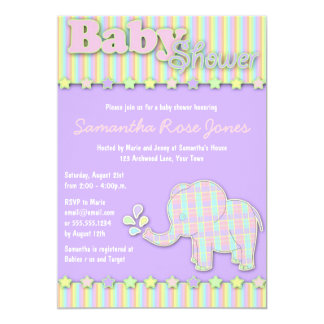Pretty Pastel Elephant Baby Shower Card