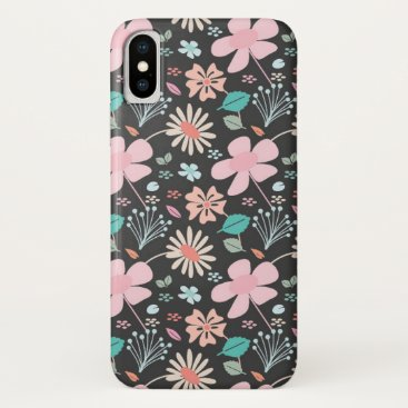 Pretty pastel floral peach pink and mint iPhone x case