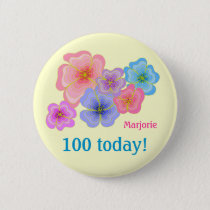 Pretty pastel flowers 100th birthday pinback button