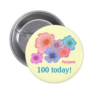 Pretty pastel flowers 100th birthday pinback button