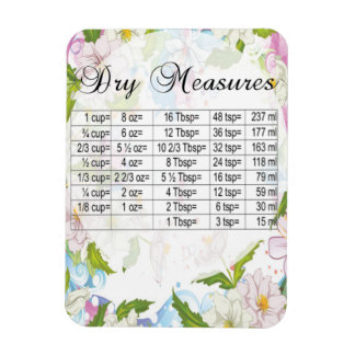 Pretty Pastel Flowers Dry Measure Equivalents Magnet