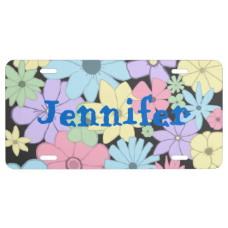 Pretty Pastel Flowers License Plate