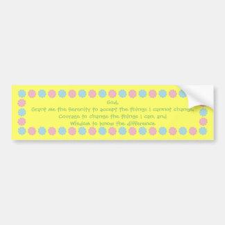Pretty pastel flowers Serenity Prayer sticker Bumper Sticker
