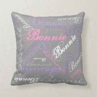 Pretty Pastel Glow Reversible Name Collage Pillow
