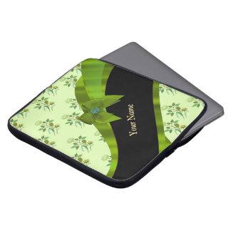 Pretty pastel green vintage floral pattern computer sleeve