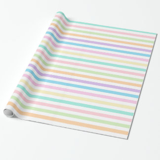 Pretty Pastel Horizontal Stripes Wrapping Paper