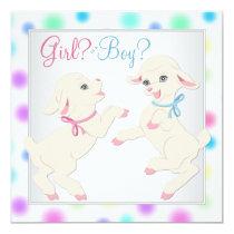 Pretty Pastel Lamb Gender Reveal Invitation
