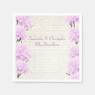 Pretty pastel lilac floral country wedding standard cocktail napkin