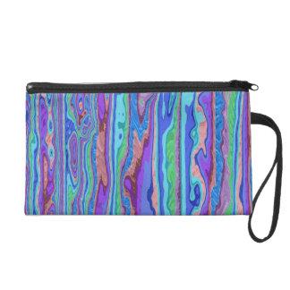 Pretty Pastel Liquid Stripes Wristlet Bag