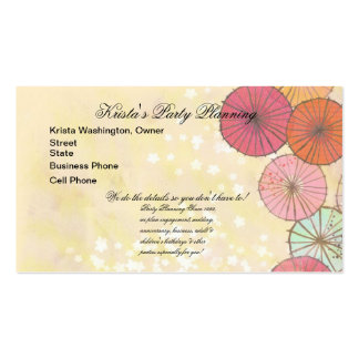 Pretty Pastel Parasols Wedding Planner Card Double-Sided Standard Business Cards (Pack Of 100)