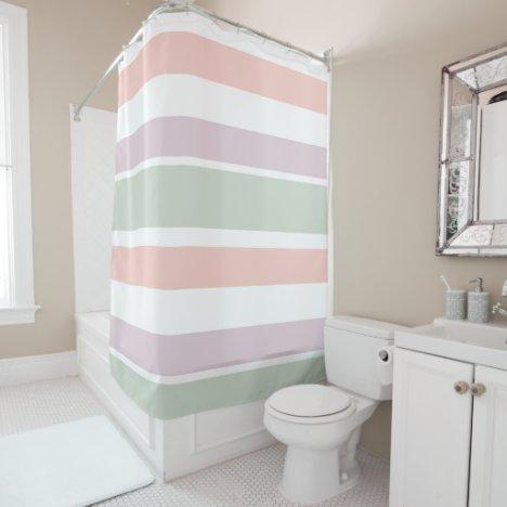 Pretty pastel pattern pink green violet stripes shower curtain