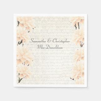 Pretty pastel peach floral country wedding standard cocktail napkin