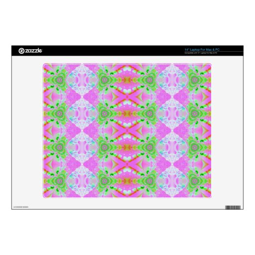 Pretty pastel pink green jewel pattern laptop decal